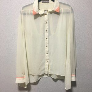Addie Button Down Sheer White Collared Long Sleeve
